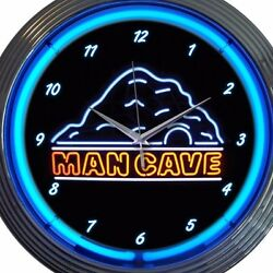 Man Cave Neon Wall Clock 15 Inch Diameter Blue Black
