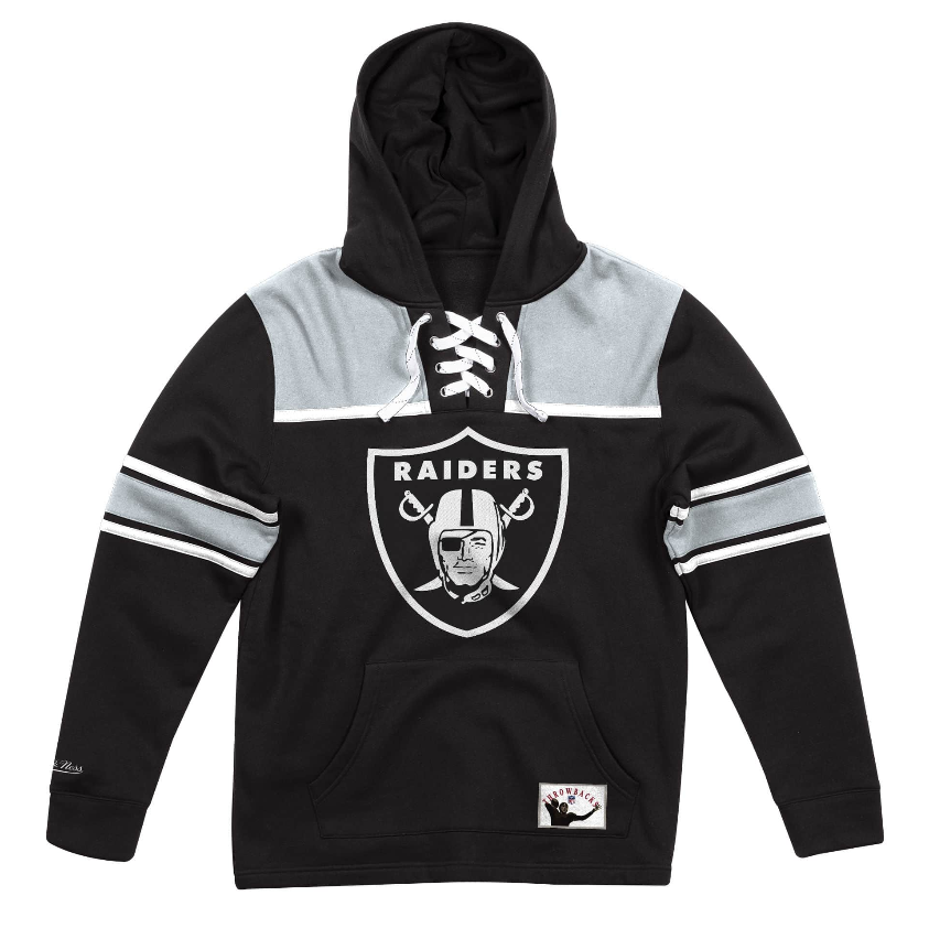sports shoes c3d74 d4ddc Details about NEW Black / Gray Oakland Raiders Mitchell & Ness NFL Foolball  Fleece Hoodie