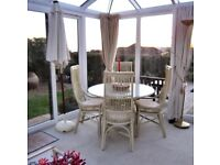 Dining table and 4 chairs, suitable for conservatory. Exmouth