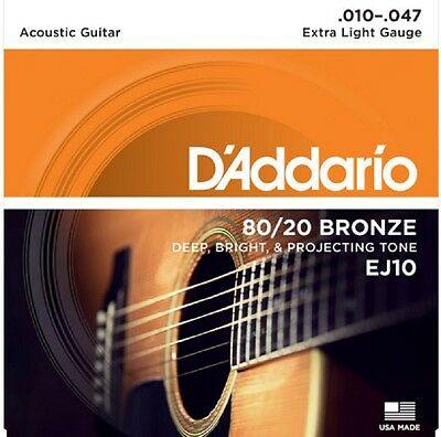 D'Addario EJ10 Acoustic Guitar Strings 80/20 Bronze Extra Light 10-47