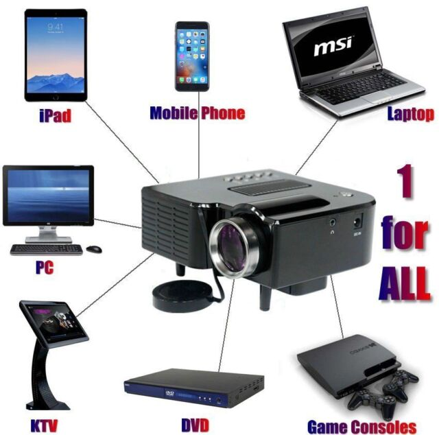 Full HD 1080P Home Theater LED Mini Multimedia Projector Cinema USB Phone PC AU