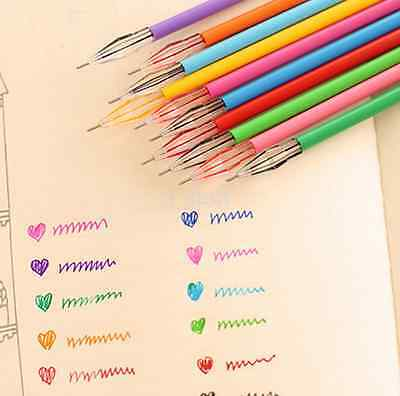 12 Color 0.35mm Diamond Rollerball Gel Pens Fine Point Stationery Marker Writing