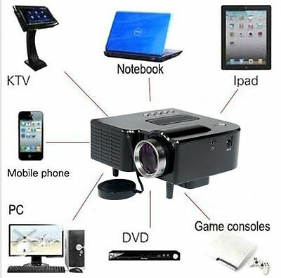 Mini Hd 1080P Led Projector Home Cinema Theater Multimedia Pc Usb Tv Av Hdmi Ufh