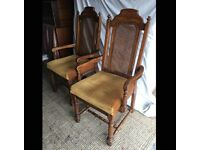 A Pair of Vintage High Back Chairs in an Antique Style Gothic Style