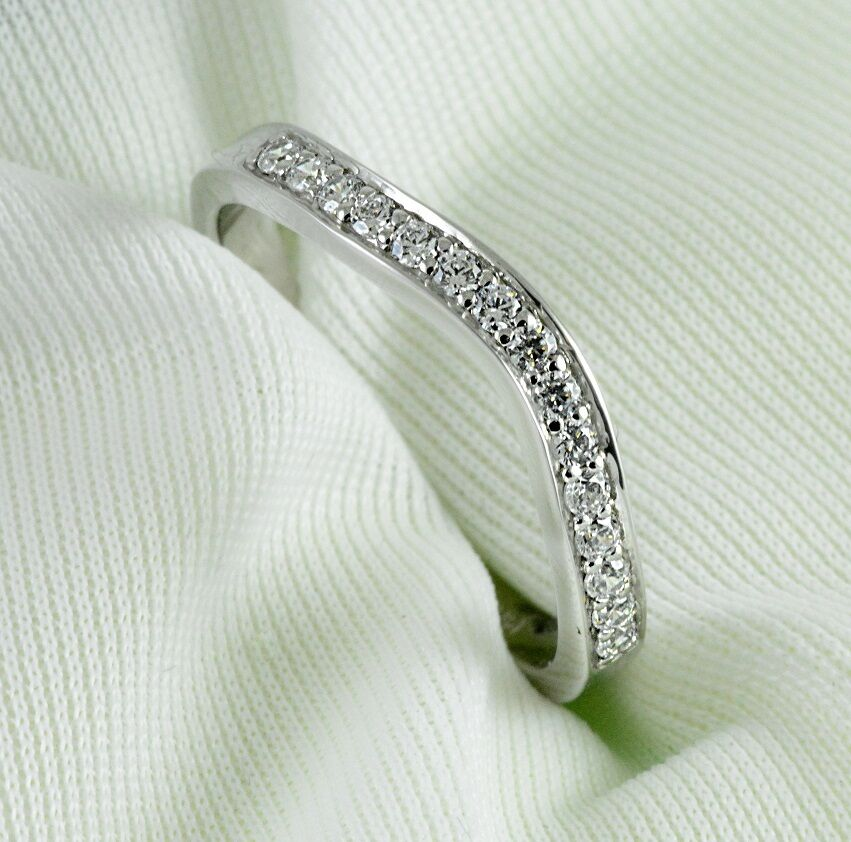 Curved Diamond Wedding Ring Band 0 25 Carat Round Cut 14k White Gold Jewelry