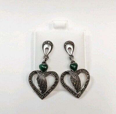 Vintage Sterling Silver Open Heart Dangling Earrings with Marcasite & Malachite