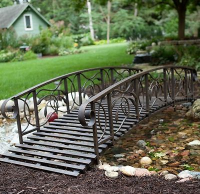 Outdoor Garden Bridge 8FT Metal Rail Rustic Creek Pond Backyard Black Walkway