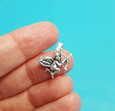 Darling Sterling Silver Cupid Angel Bow Arrow Pendant Charm Necklace Marked 925 Cupid Silver Necklace