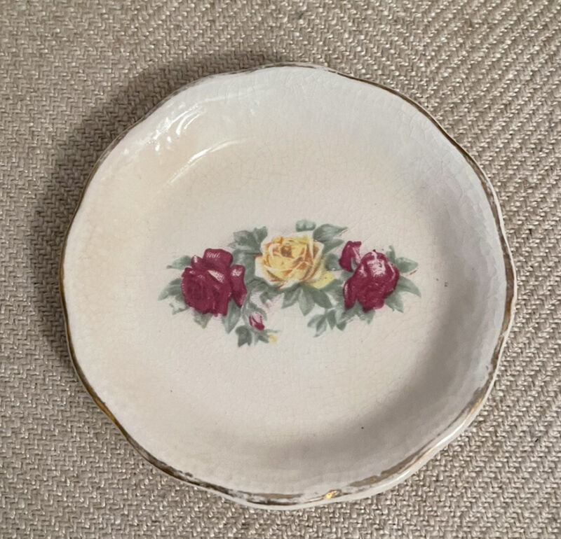 OLD Vintage Antique Butter Pat Pink & Yellow Roses, Gold Gilt Trim Farmhouse