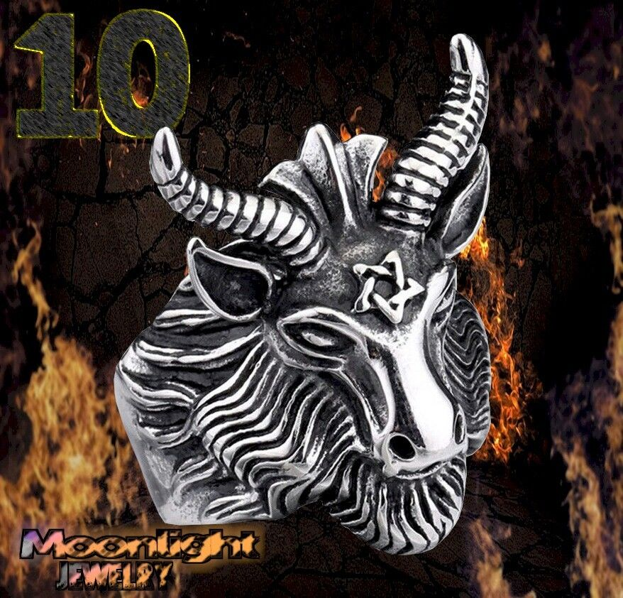New Goat Head Ring Gold Star Ram Devil Gothic Punk Biker Silver Ring