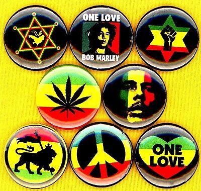 Bob Marley 8 NEW 1 inch pins buttons badge reggae one love peace dreadlock rasta