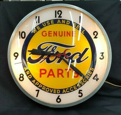 Vintage Telesign Inc. Ford Genuine Parts & Accessories Round Wall Clock
