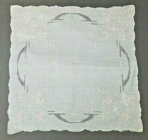 "Exquisite Antique Vintage Hanky Hand Embroidered Wedding Handkerchief 12"" NOS #1"