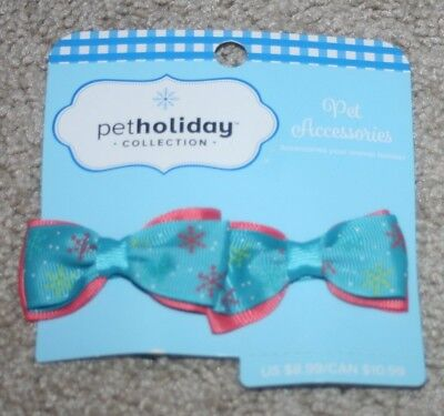 NEW Petco Pet Accessories Hair Bows for Dogs Blue & Pink w/Snowflakes