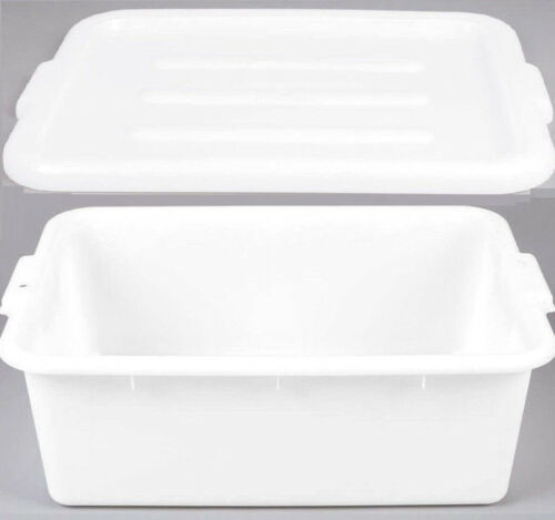 "6 PACK 20"" x 15"" x 7"" WHITE Storage Plastic Dish Restaurant Food Bus Tub w/ Lid"
