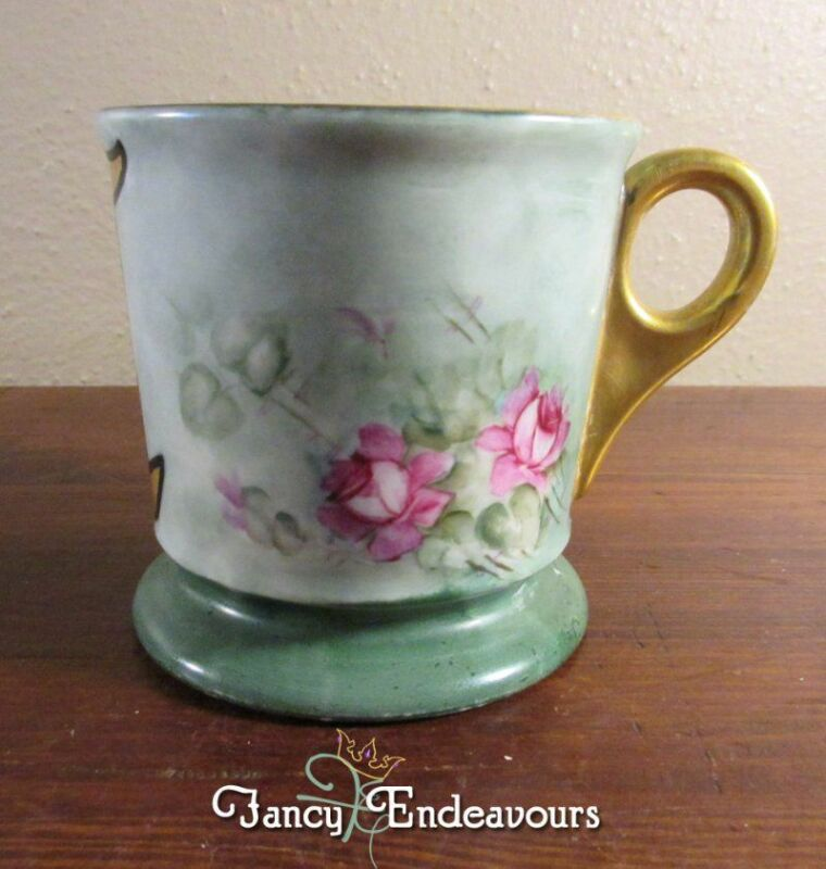 "Limoges? Antique Porcelain Shaving Mug Hand Painted Pink Roses & ""C"" Initial"