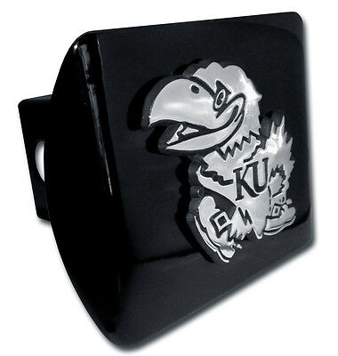 Kansas University Jayhawk Logo Metal Black Chrome Trailer Hitch Cover Usa Made