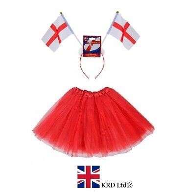 ENGLAND ST GEORGE FLAG TUTU COSTUME World Cup Party Fancy Dress Accessory Lot (World Cup Kostüme)