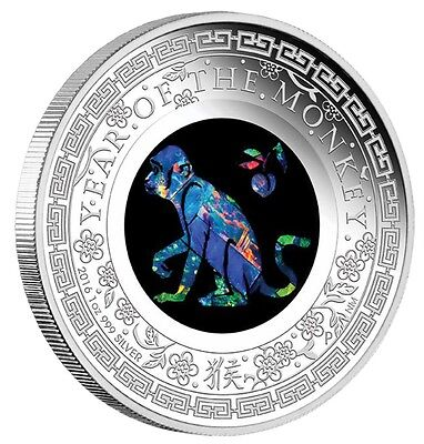 Australia Opal Series Lunar Year of the Monkey 2016 1oz Silver Proof $1 Coin