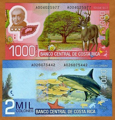 SET, Costa Rica, 1000;2000 Colones, 2011-2013, New, UNC