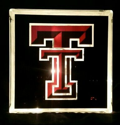 Texas Tech Glass Block Light / Home Decor~Gift~Lamp - Glass Block Decoration