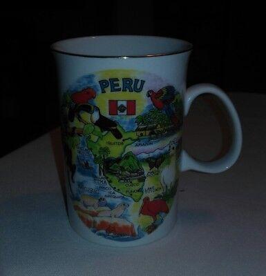 Peru Machu picchu Coffee Tea Ceramic Mug Souvenir Painted Used...