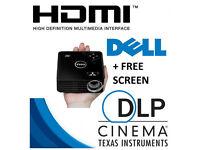 Dell m115hd WXGA WiFi HDMI LCD DLP Home Cinema Projector VGC + Free Screen