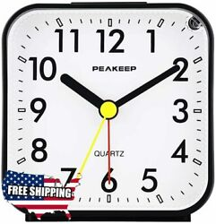 Peakeep Small Battery Operated Analog Travel Alarm Clock Silent No Ticking