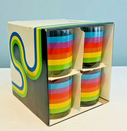 Vintage 1970s ANCHOR HOCKING Set Of 8 TUMBLER GLASSES Rainbow Stripes NEW IN BOX