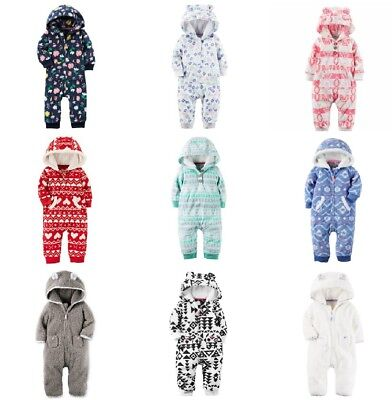 NWT Carters Infant GIRL's Fleece Hoodie Jumpsuits Coveralls Hooded Pram 3-24 Mo. ()