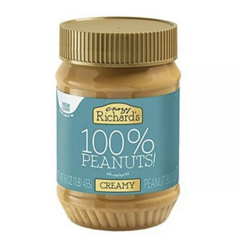 Crazy Richards 100% Peanuts Creamy Peanut Butter 16oz FREE SHIPPING