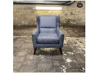 BRAND NEW Designer Blue Leather Modern Statement Armchair
