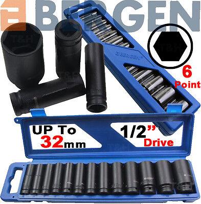 "BERGEN Thin Wall DEEP IMPACT Sockets Set 1/2"" Drive Long Reach Impact Sockets 6P"