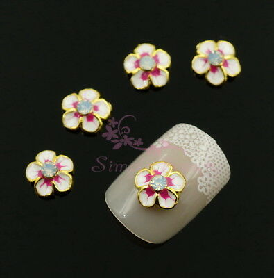 Pink Flower Shape - 20 Pink Sakura Flower Shape Metal Nail Art Alloy Charms Jewelry DIY Decorations