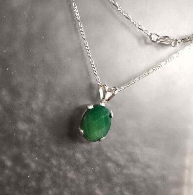 - Sterling Silver Oval Cabochon Natural Emerald Pendant Necklace 3.20TCW 16