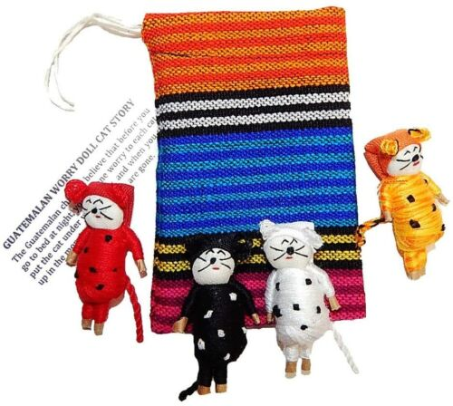 4   2 inch Worry Doll Cats in a Pouch.  Hand made in Guatemala