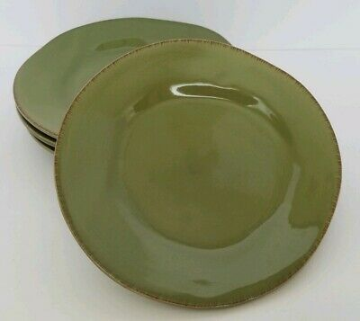 PIER 1 ELEMENTAL MOSS GREEN SET OF 4 SALAD/DESSERT PLATES LIMITED