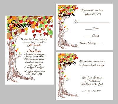 100 Personalized Custom Fall Autumn Tree Rustic Organic Wedding Invitations Set