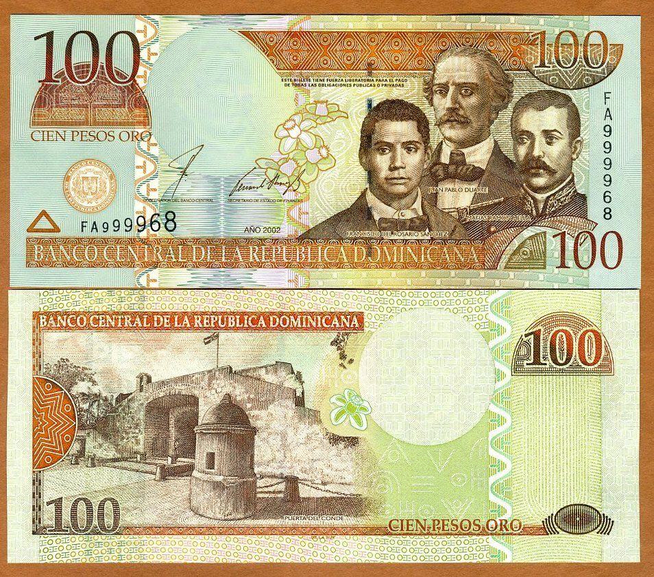 dominican republic, 100 pesos oro, 2002, pick 171 (171b), unc