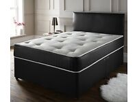 Brand new Black divan double bed for sale with 2 sided mattress £70