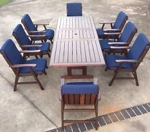 Solid dark timber 8 seater extendable outdoor setting Beerwah Caloundra Area Preview