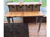 Shabby chic desk with storage baskets