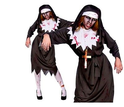Ladies SATANIC SISTER Zombie Nun Halloween Evil Scary Fun Fancy Dress Costume