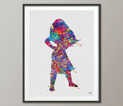 Moana Disney Princess Watercolour Print Nursery Decor Baby Shower Gift For Girls