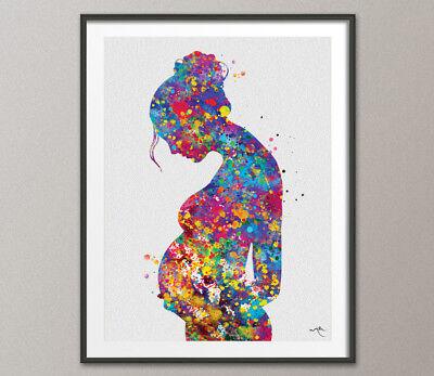 (Pregnant Watercolor Print Pregnancy Pregnant Gift New mum Medical Art Office Art)