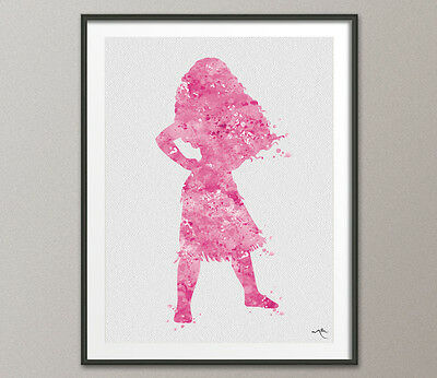Moana Disney Princess Pink Watercolour Print Nursery Decor Baby Shower For Girls