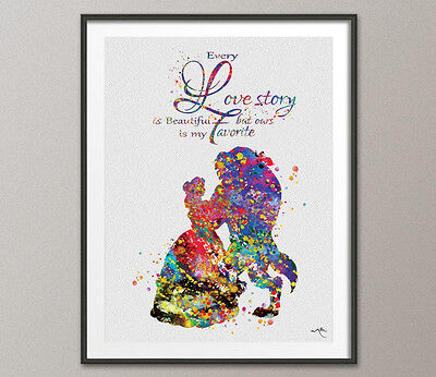 Beauty and the Beast Love Quote Belle Disney Princess Watercolor Nursery Wedding