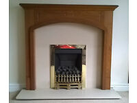 Gas fire, surround and hearth