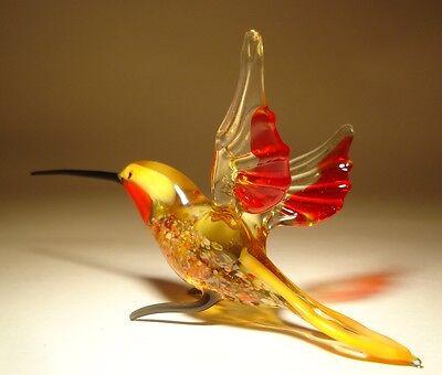 """Blown Glass Figurine """"Murano"""" Art Yellow & Red HUMMINGBIRD Bird with Red Throat"""
