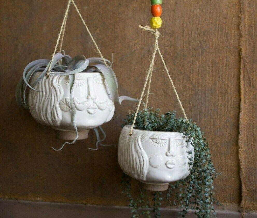 Face Planters Hanging Ceramic Set of 2